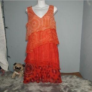 Desigual Orange Sleeveless Dress Size 6 (40)